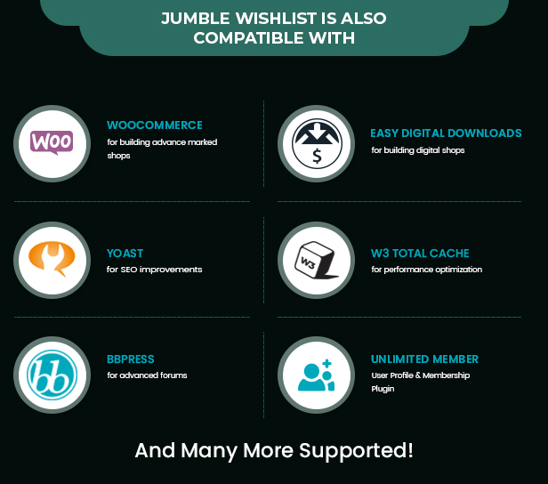 compatible-plugin Jumble - WooCommerce / WordPress Wishlist Collection & Bookmark Plugin